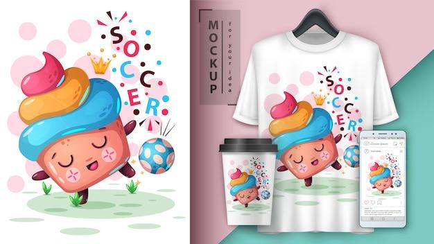 Cupcake de football, illustration de football Vecteur Premium