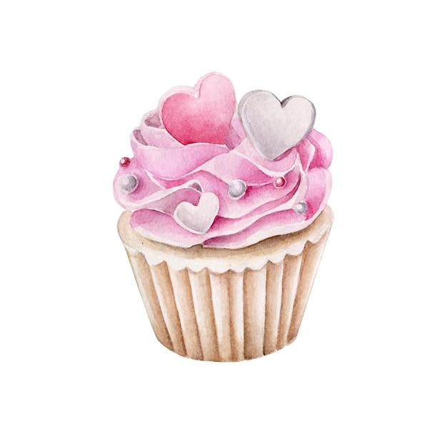 Cupcake Rose Aquarelle Avec Biscuits Coeurs Vecteur Premium