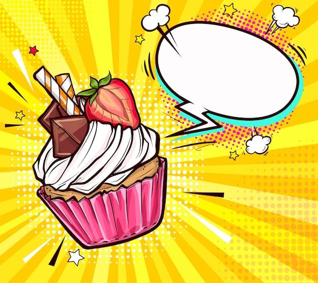 Cupcake Savoureux Décoré à Moitié Fraise Vecteur gratuit