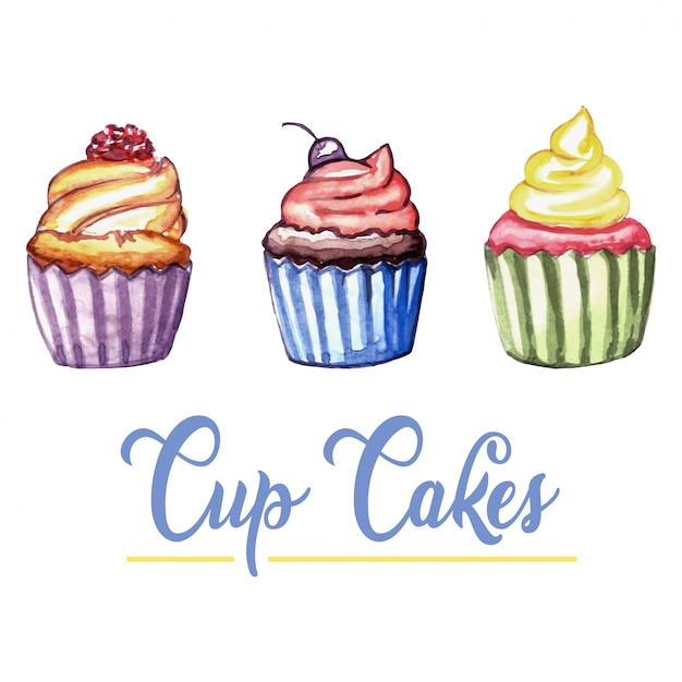 Cupcakes à l'aquarelle Vecteur Premium