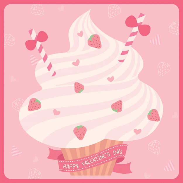 Cupcakes saint valentin Vecteur Premium