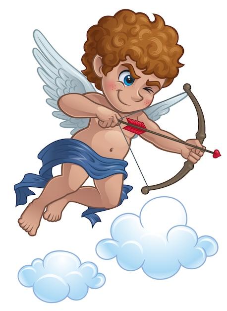 Cupidon de dessin animé avec arc et flèche Vecteur Premium