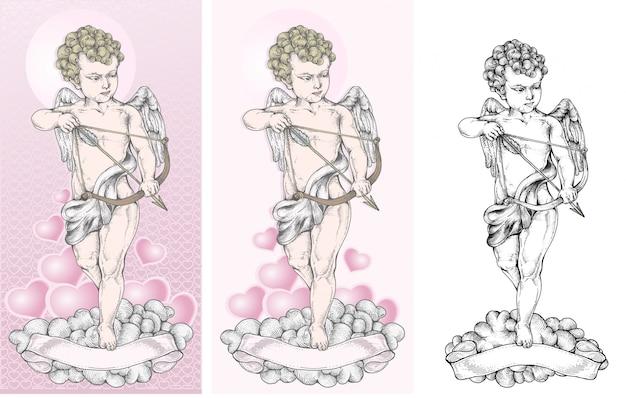 Cupidon Vise La Cible Avec Un Arc Vecteur Premium