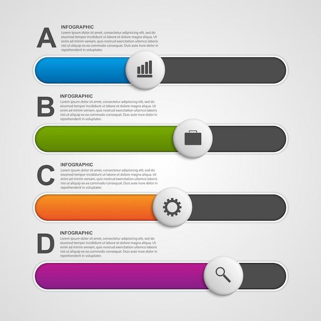 Curseur coloré infographique. Vecteur Premium