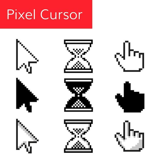 Curseur de souris pixel Vecteur Premium