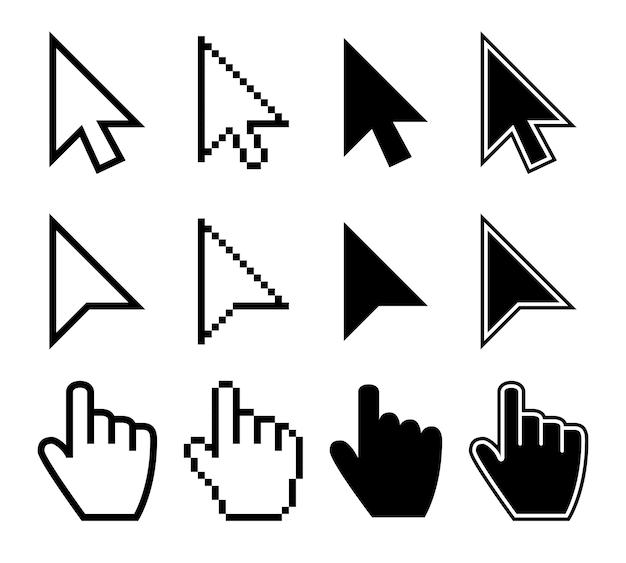 Curseurs de souris en cliquant, ensemble de vecteurs pointeurs de doigt d'ordinateur Vecteur Premium
