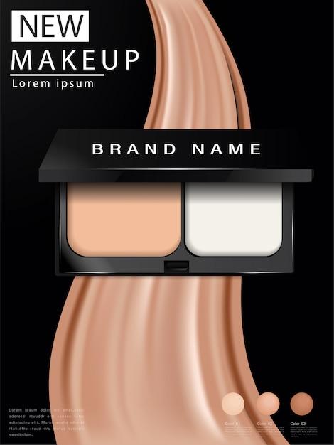 Cushion compact annonces de fondation, maquillage attrayant Vecteur Premium
