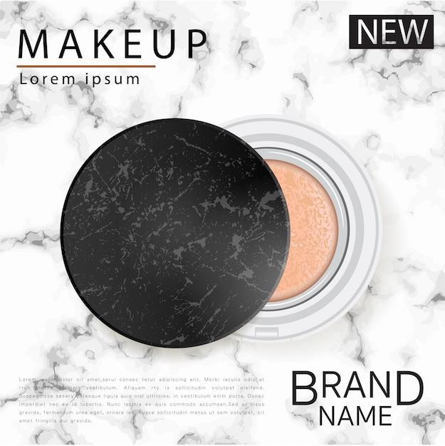 Cushion foundation makeup, un produit de maquillage attrayant avec un fond de marbre texturé. Vecteur Premium