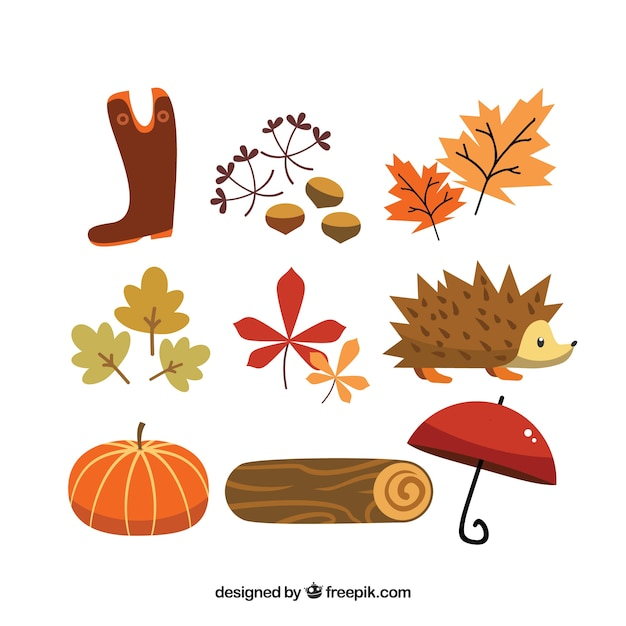 Cute autumn elements Vecteur gratuit