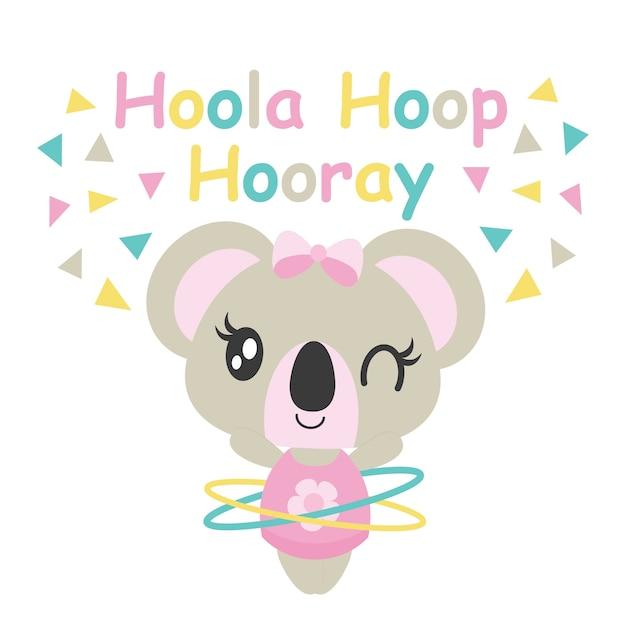 Cute Baby Koala Joue Hoola Hoop Illustration De Bande