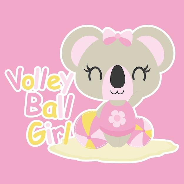 Cute Baby Koala Joue L Illustration De Bande Dessinee De