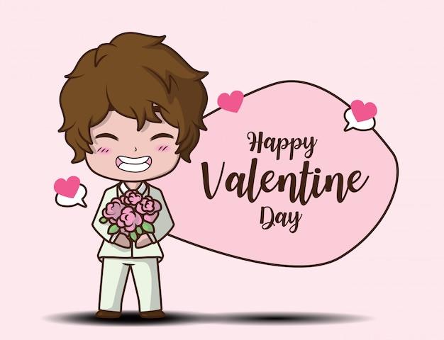 Cute Boy Holding Rose Et Message Happy Valentine Day Vecteur Premium