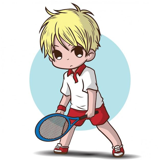 Cute boy joue au personnage de dessin animé de tennis. Vecteur Premium