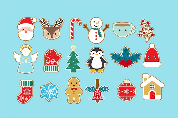 Cute christmas icon elements set Vecteur Premium
