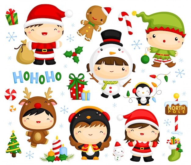 Cute christmas kids vector set Vecteur Premium