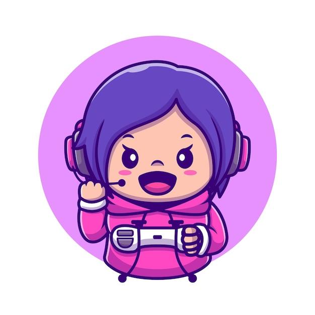 Cute Girl Gaming Holding Joystick Cartoon Icône Illustration. Concept D'icône De Technologie De Personnes Isolé. Style De Bande Dessinée Plat Vecteur gratuit