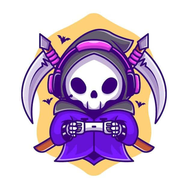 Cute Grim Reaper Gaming With Scythe Cartoon Illustration. Concept D'icône De Jeu Halloween Vecteur Premium