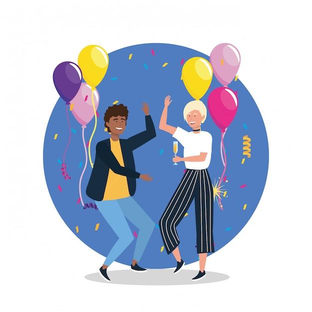 Cute homme et femme dansant avec des ballons et des confettis Vecteur gratuit