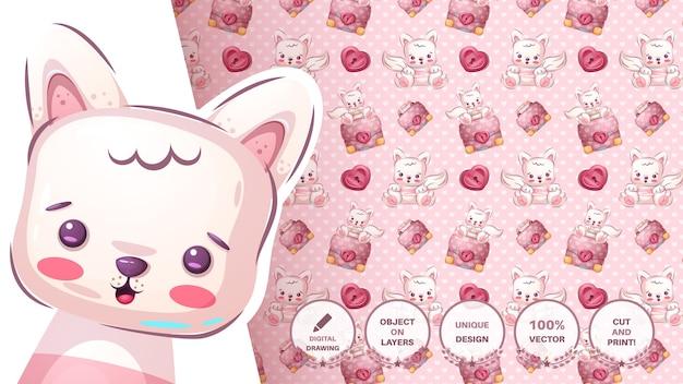 Cute Kitty Avec Diplomate - Modèle Sans Couture Vecteur gratuit