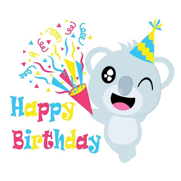 Cute Koala Avec Bande Dessinée De Vecteur De Chapeau, Carte Postale D'anniversaire, Papier Peint Et Carte De Voeux, T-shirt Design Pour Enfants Vecteur Premium