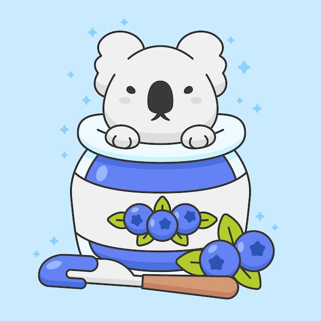 Cute koala bear dans un pot de confiture de myrtilles Vecteur Premium