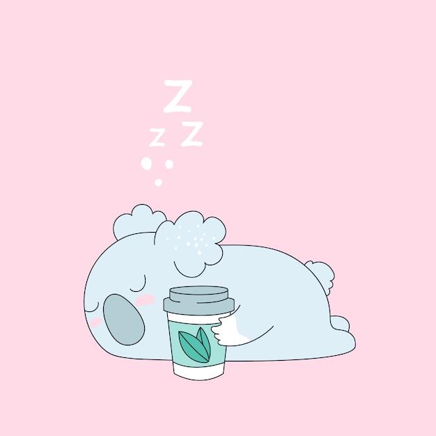 Cute koala bear avec une tasse de thé et café Vecteur Premium