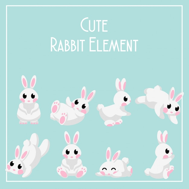 Cute lapin de jour lun bunny element Vecteur Premium