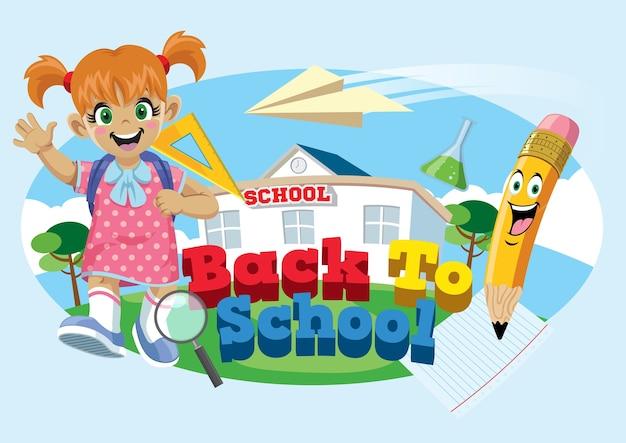 Cute school girl avec le concept de retour à l'école Vecteur Premium