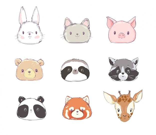 Cute set animals vector illustration Vecteur Premium