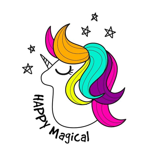 Cute unicorn. Vector illustration de personnage de dessin ...