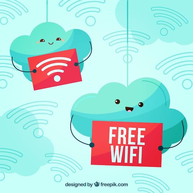 Cute Wifi Gratuit Vecteur gratuit
