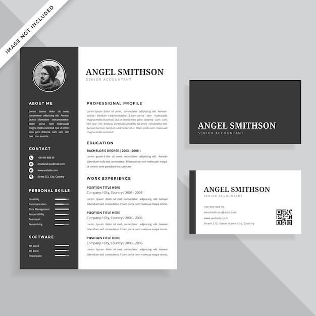 Cv Professionnel Simple Et Carte De Visite Design Set