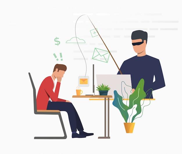 Un Cyber-attaquant Piratant Un Serveur De Messagerie Vecteur gratuit