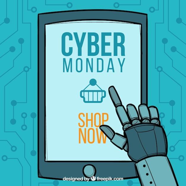 Cyber lundi conception avec robot et tablette Vecteur gratuit