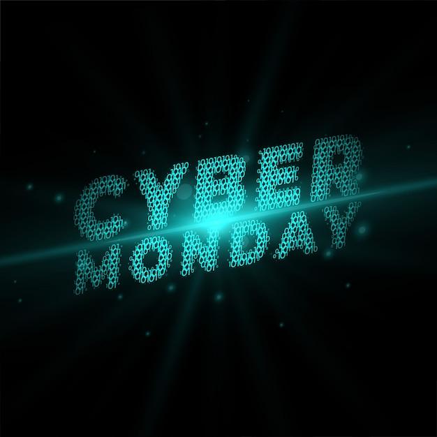 Cyber lundi écrit dans la bannière de style technologique Vecteur gratuit