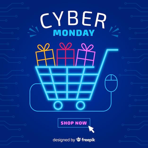 Cyber lundi avec néon panier lumière Vecteur gratuit