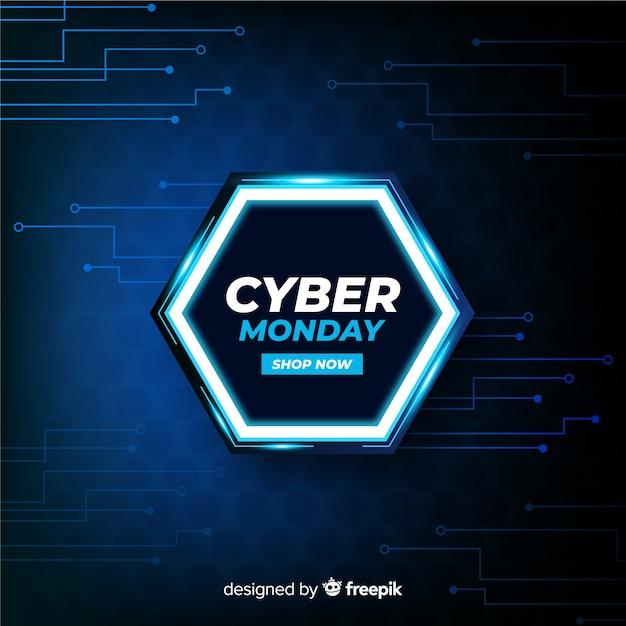 Cyber lundi technologique réaliste Vecteur gratuit