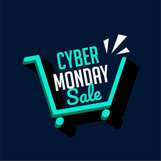 Cyber Lundi Vente Panier D'achat Bannière Technologique Vecteur gratuit