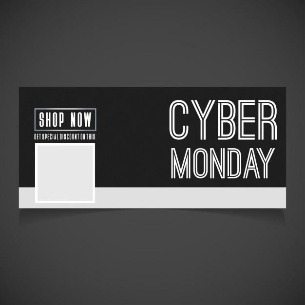 Cyber monday Achetez Maintenant Noir Bannière Vecteur gratuit
