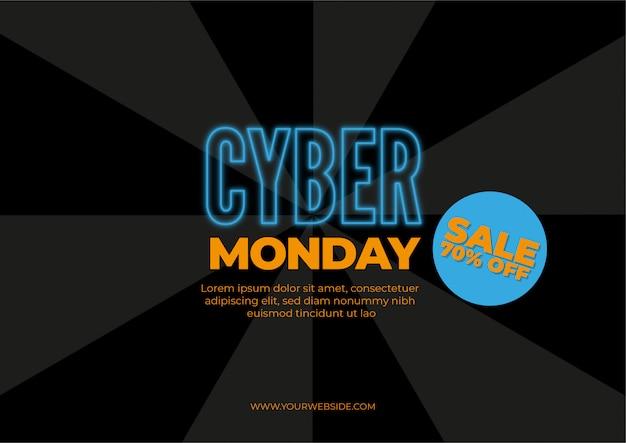 Cyber monday, illustration de concept de vente discount dans un style néon Vecteur gratuit