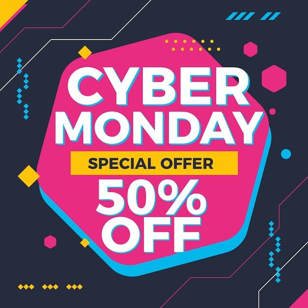 Cyber monday résumé de fond de technologie coloré Vecteur Premium