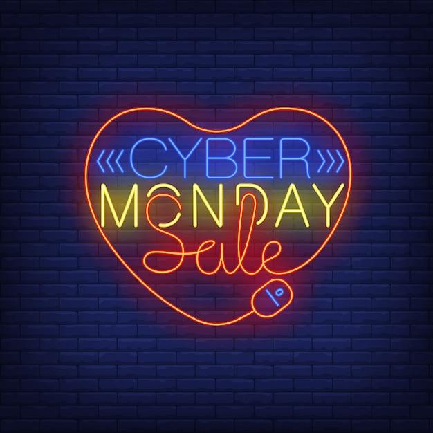 Cyber monday sale texte néon dans le coeur Vecteur gratuit