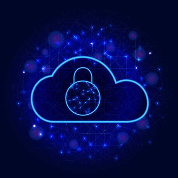 La cyber-sécurité. conception de la technologie de stockage de données en nuage sécurisé avec fond abstrait cadenas Vecteur Premium
