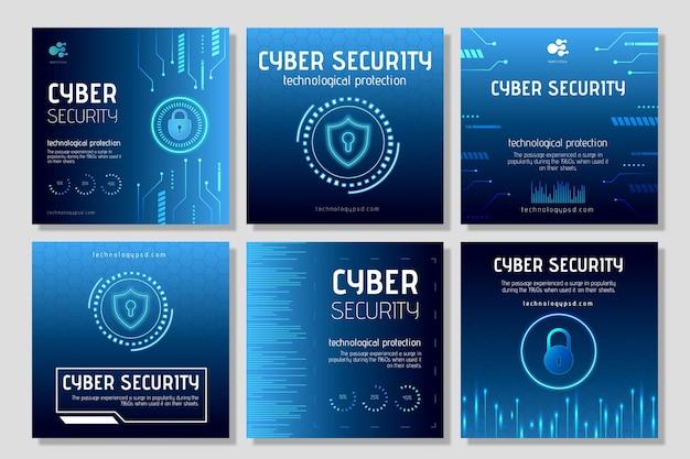 Cyber Sécurité Instagram Posts Vecteur Premium