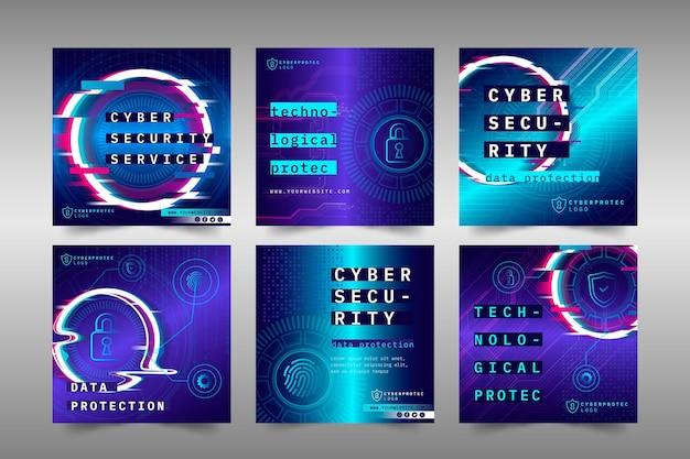 Cyber Sécurité Instagram Posts Vecteur gratuit