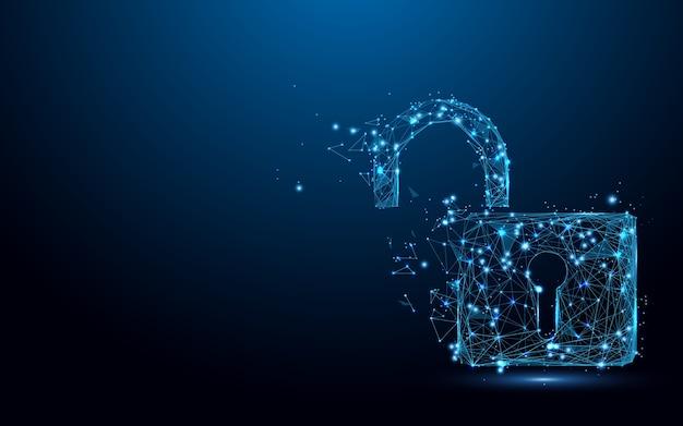 Cyber unlock Sécurité Symbole Forme Lignes De Particules Vecteur Premium