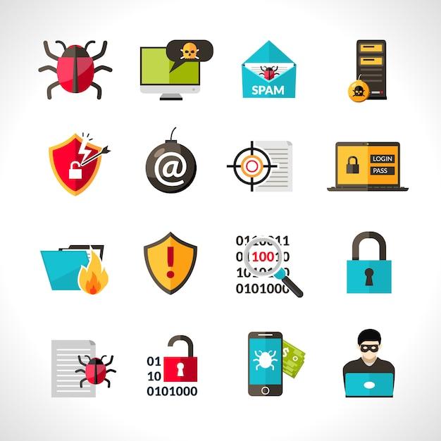 Cyber virus Icons Set Vecteur gratuit