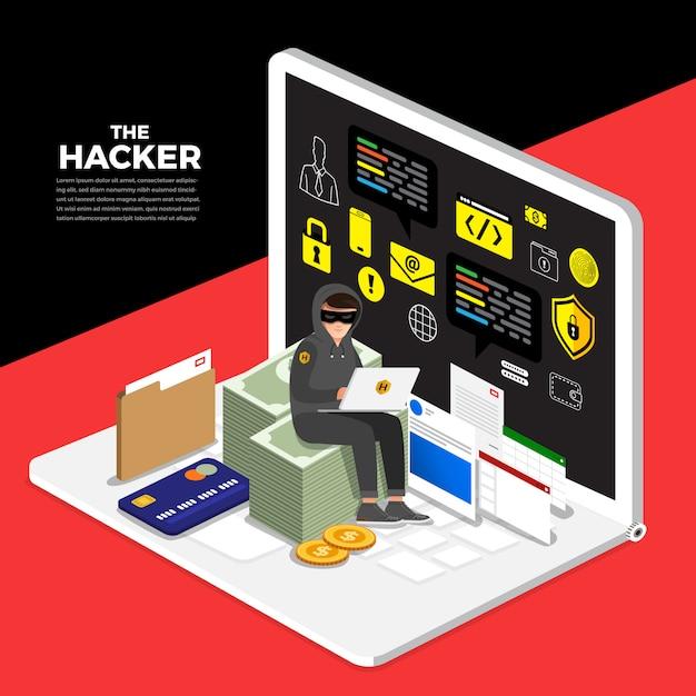 Cyber voleur concept design concept pirate activité Vecteur Premium
