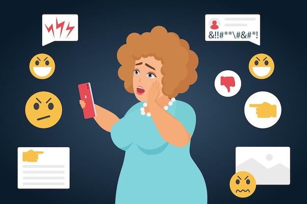 Cyberintimidation Triste Personnage De Grosse Femme Victime D'intimidation En Arrière-plan Des Médias Sociaux En Ligne Vecteur Premium