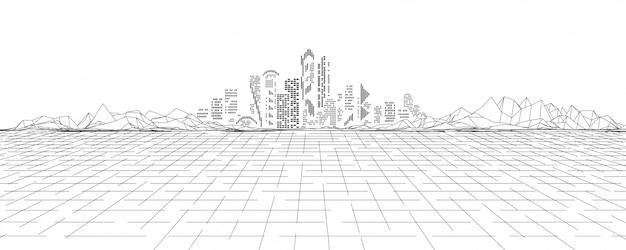 Cyberland En Réalité Virtuelle Vecteur Premium